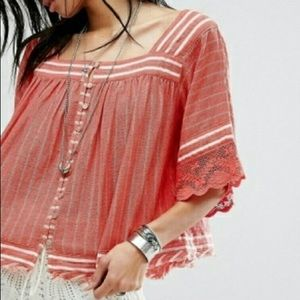 Free People See Saw lace striped top